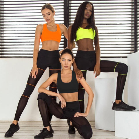 Fitness Female Yoga Set Ensemble Hit Color Women Sport Suit Tracksuit Mesh Sportswear Sexy Workout Gym Wear Running Clothes