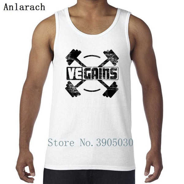 Vegains Vegan Muscle Power Amazing Workout Vests Anti-Wrinkle Quirky Printed Tank Top Men Sportswear Summer Style Sleeveless