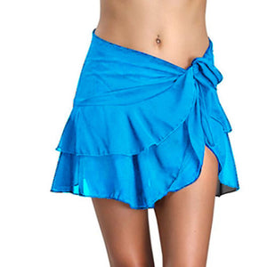 See Through Bikini Cover Up Short Women Beach Skirts Swimwear Pareo Wrap Sarong Skirt Swimsuit Beachwear