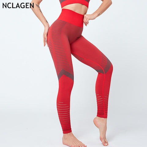 Leggings Sport Women Fitness Push Up Yoga Pants High Waist Elastic Gym Trousers Squat Proof Hollow Out Running Tights NCLAGEN