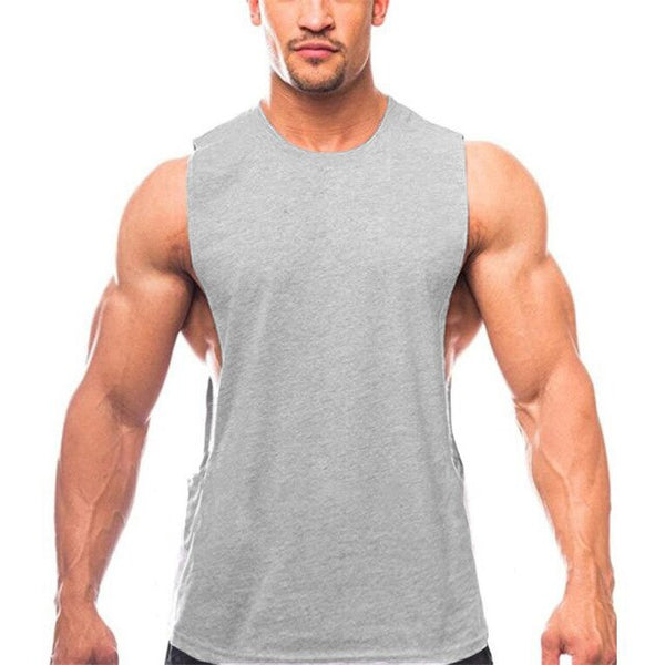 Bodybuilding Drop Armhole Tank Top Mens Cartoon Gym Stringer Summer Fitness Solid Clothing Loose O-neck Sleeveless Vest