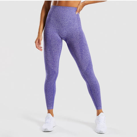 NORMOV Women Solid Slim Leggings High Waist Knitting Breathable Workout Leggings Female Knitting Fitness 5 Color Leggings