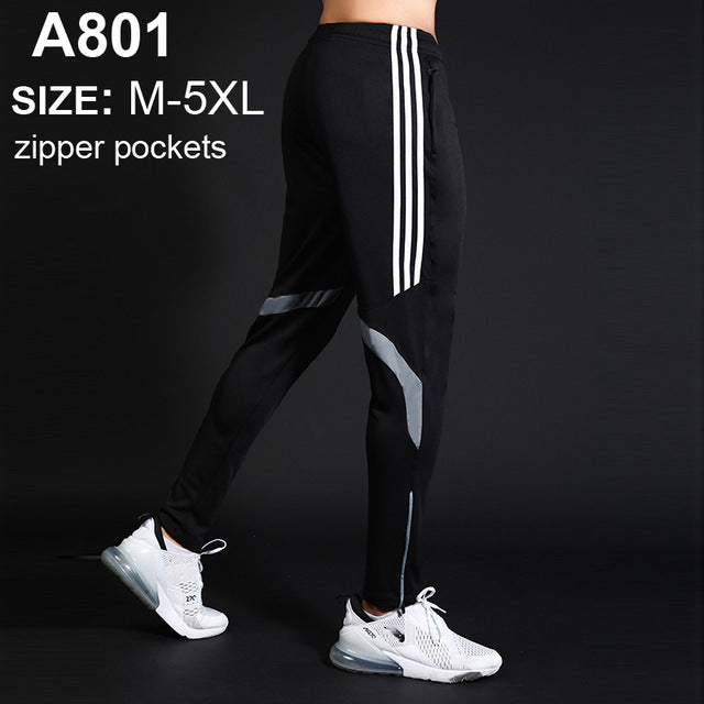 Men Sports Running Pants zipper Athletic Football Soccer pant Training sport Pants Elasticity Legging jogging Gym Trousers
