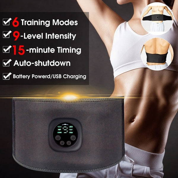 Intelligent EMS Fitness Trainer Belt LED Display Electrical Stimulator Abdominal Muscle Sticker Training Device Home Gym