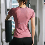 Women Summer T Shirts Slim Fit For Sports Fitness Yoga Short Sleeve Yoga Top Mesh Womens Gym Shirt Sport Wear