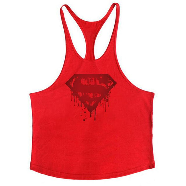 Bodybuilding Bloody Superman Cotton Mens Tank Tops Fitness Stringer 1cm shoulder strap gyms vest Sexy Sportwear Tee shirt