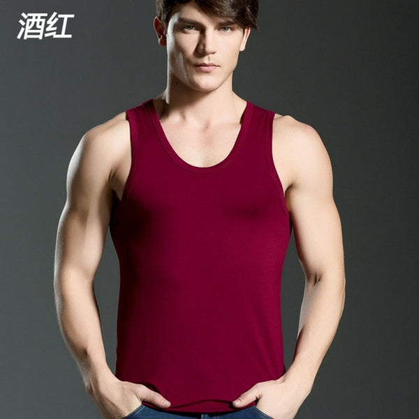 Men's Close-fitting Vest Fitness Elastic Casual O-neck Breathable H Type All Cotton Solid Undershirts Male Tanks
