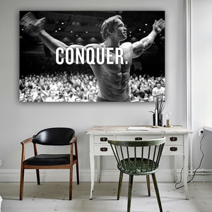 CONQUER Arnold Schwarzenegger Bodybuilding Motivational Quote Art Canvas Poster Print 24x36inch Wall Picture for Living Room