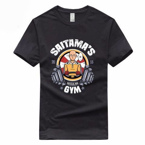 Saitama GYM One Punch Man Anime Mens Funny Euro Size 100% Cotton T-shirt Summer Casual O-Neck Tshirt For Men And Women GMT017