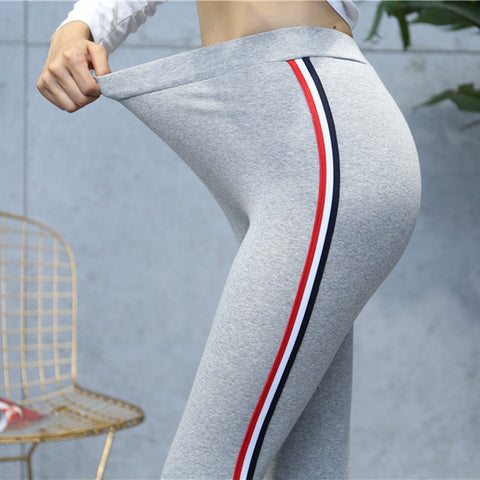 Plus Size 5XL Quality Cotton Leggings Side Stripes Women Casual High-stretch Leggings Pants High Waist Fitness Leggings Female