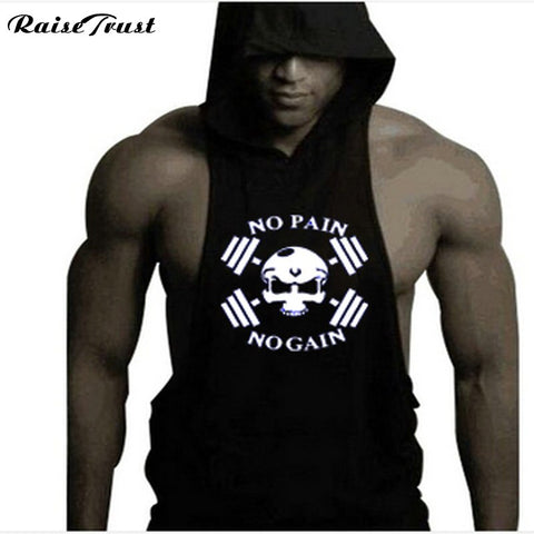 Men Cotton Hoodie Sweatshirts fitness clothes bodybuilding tank top men Sleeveless Tees Shirt Casual  vest fitness