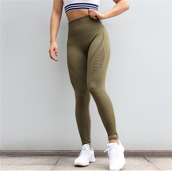 SALSPOR Women Yoga Pants Sports Running Sportswear Stretchy Fitness Leggings Gym Seamless Tummy Control Compression Tights Pants