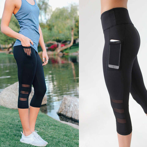 Sexy Women Leggings Capri Pants Leggings Sport Fitness Workout High Waist Mesh 3/4 Leggings H9