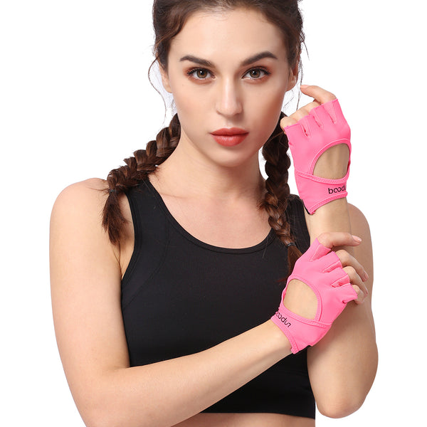 Gym Body Building Training Fitness Gloves Sports Weight Lifting Exercise Slip-Resistant Gloves For Women Yoga Gloves Pink Color