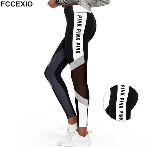 Women Love Pink Letter Print Workout Leggings Women High Waist Slim  PINK Slim Fitness Legging Sporting Legging