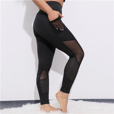 CHRLEISURE Pocket Mesh Workout Leggings Women Sexy Activewear Push Up Pant Elastic Heart-shaped High Waist Fitness Leggings