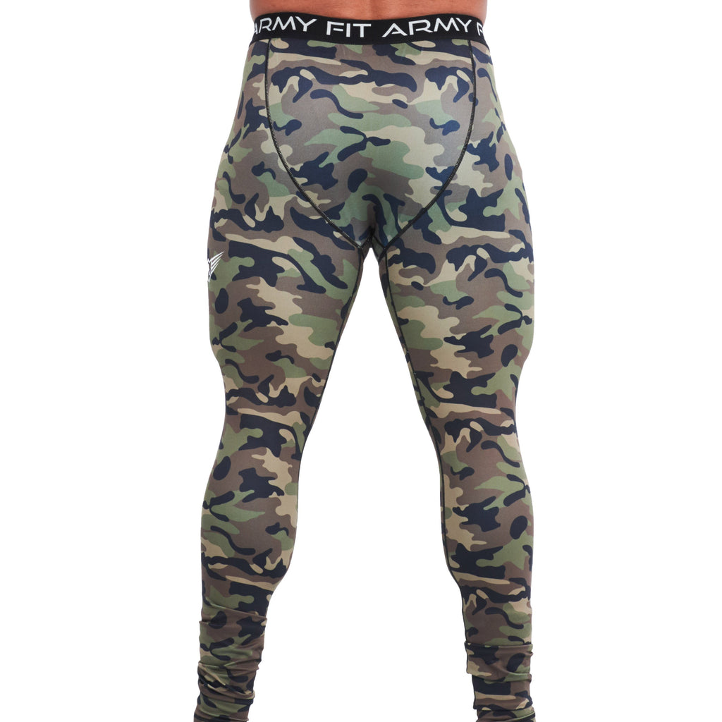 LEGGINGS « COLLANTS» DE COMPRESSION POUR HOMMES VERT MILITAIRE | JOGGING-COURSE