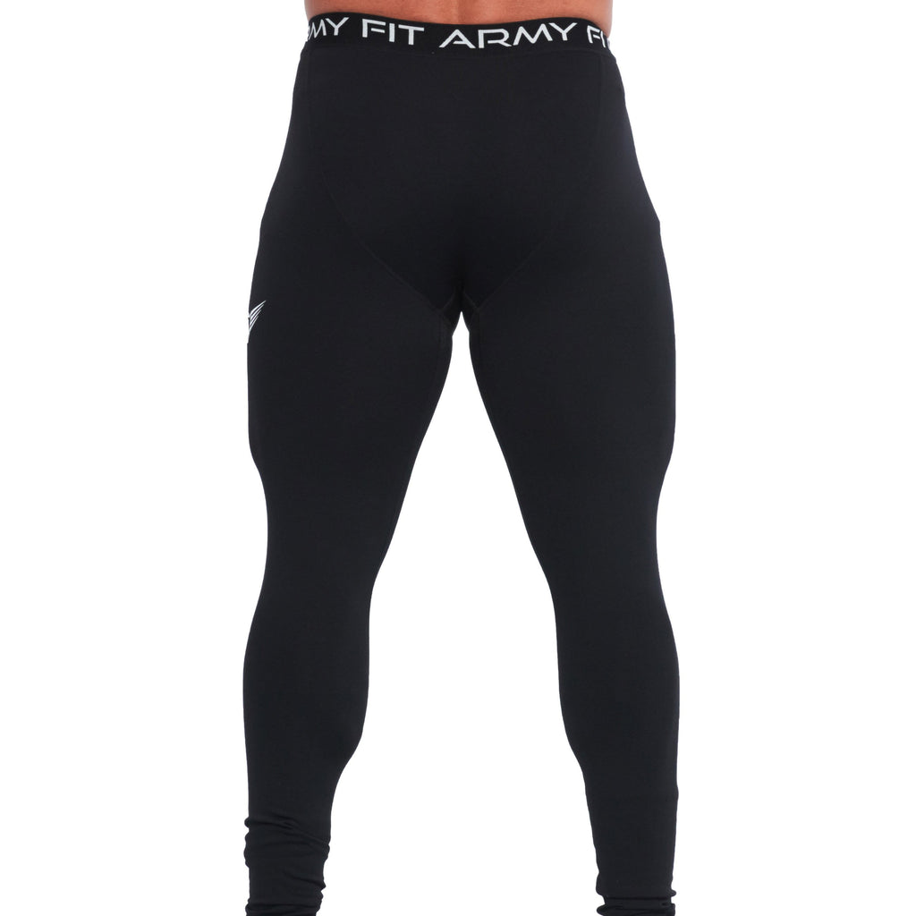 LEGGINGS « COLLANTS» DE COMPRESSION POUR HOMMES NOIR | JOGGING-COURSE