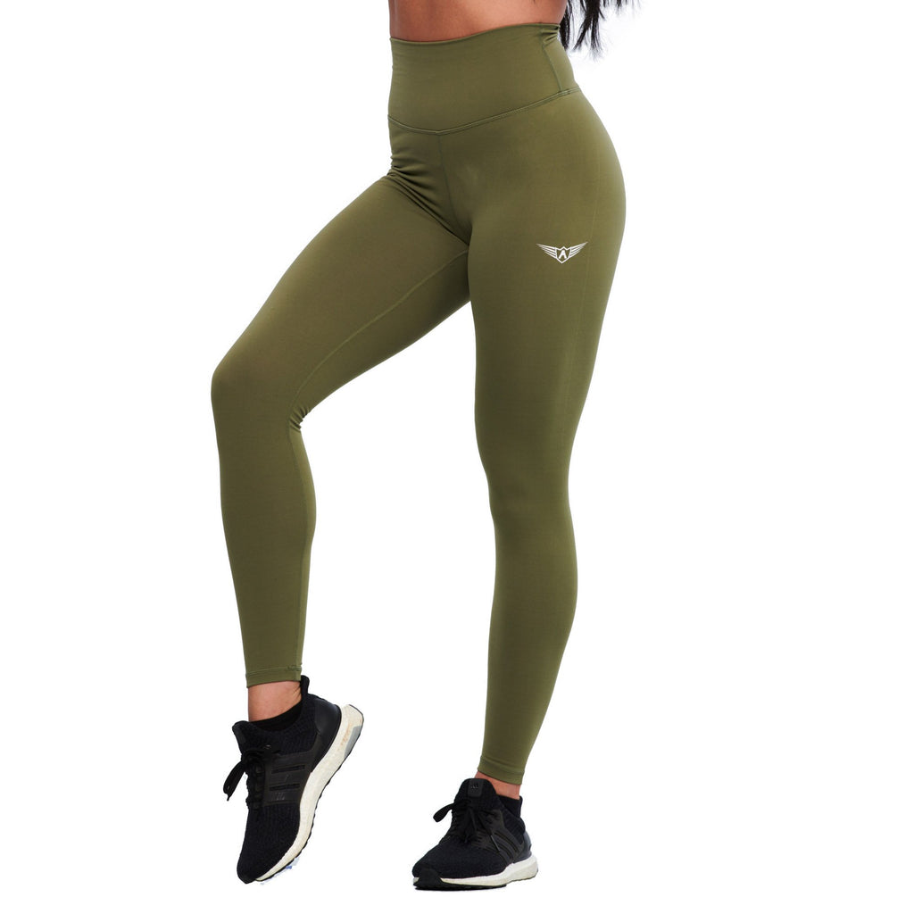 LEGGINGS DE COMPRESSION À TAILLE HAUTE - VERT OLIVE | JOGGING-COURSE