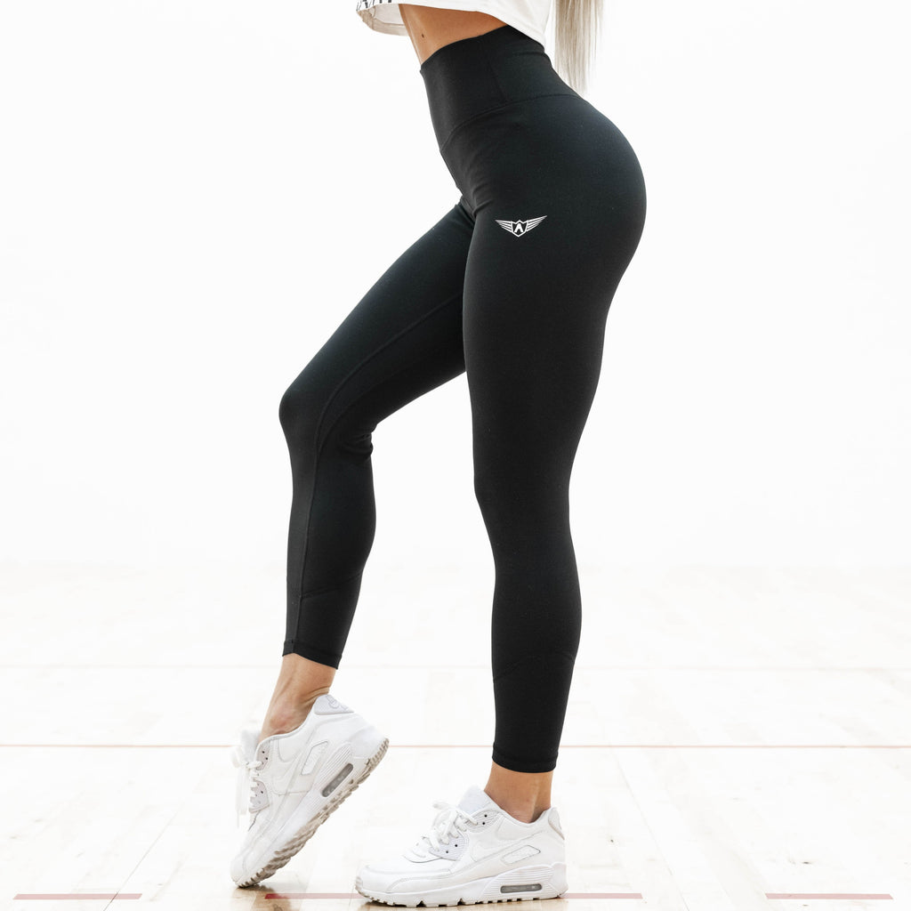 LEGGINGS DE COMPRESSION À TAILLE HAUTE NOIR | JOGGING-COURSE