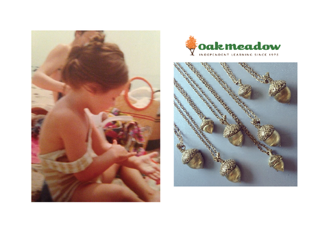 Oak Meadow school and their acorn charms and a photo of Tarra Rosenbaum as a child at the beach