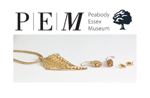 Peabody Essex Museum and their Tarra Rosenbaum jewelry of autumn leaf and pine cone earrings