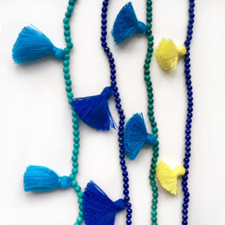 Blue turquoise and yellow tassels with turquoise, lapis lazuli and malachite beads