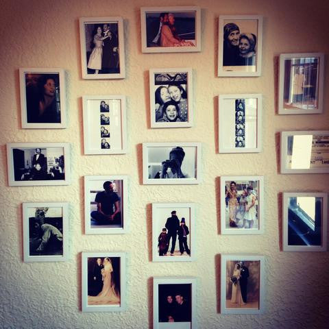 A wall of family photos