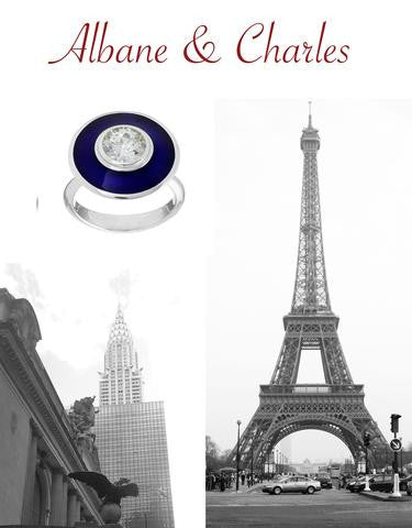 Black and white photo of NY and Paris and the blue enamel aurora ring and diamond with the title Albane and Charles