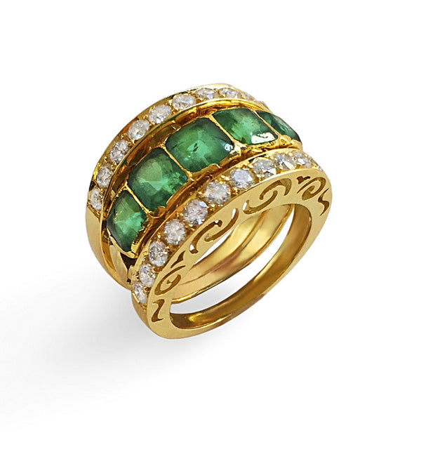 Emerald band with two pave white diamond bands on each side in yellow gold