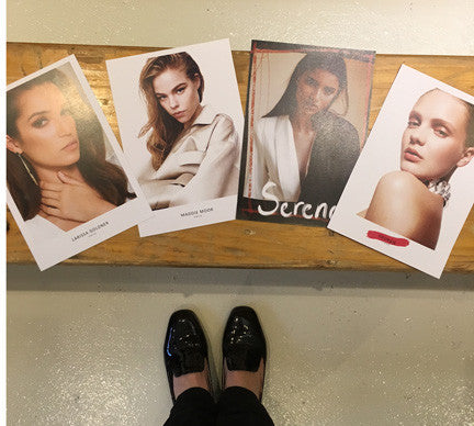 Four photo cards of the models for the fashion show