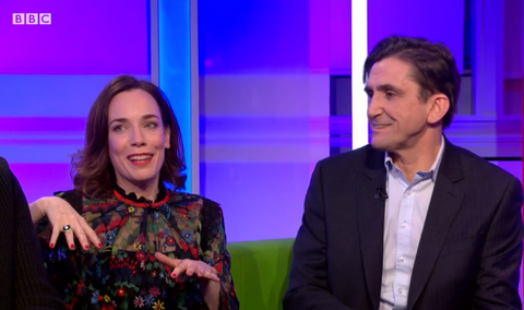 Laura Main on bbc breakfast wearing the rainforest green diamond aurora ring