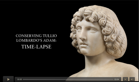 Lombardo's ADAM sculpture head directing people to a time lapse video