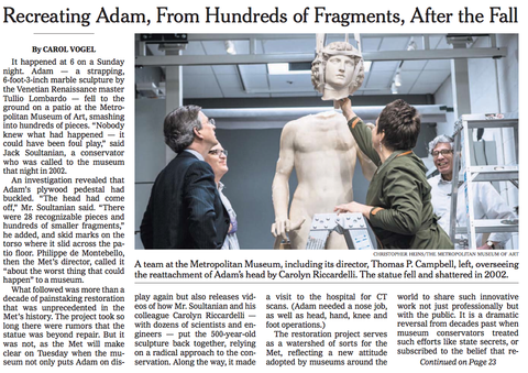 Carolyn Riccardelli on cover of New York Times conserving the Lombardo's ADAM