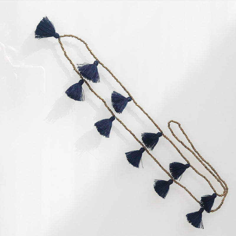 Dark Blue Tassel Necklace