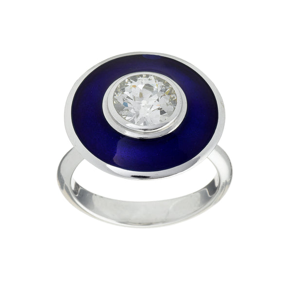 Aegean blue aurora ring with a diamond and hot enamel
