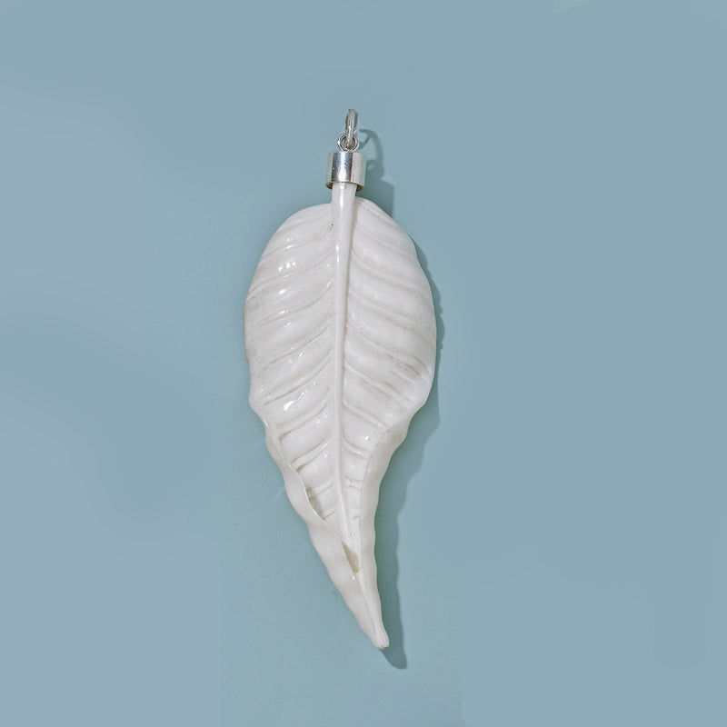 Large Autumn Carved Leaf with Silver top