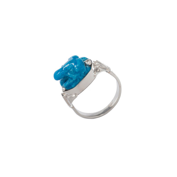 Light Turquoise Faience Frog Ring