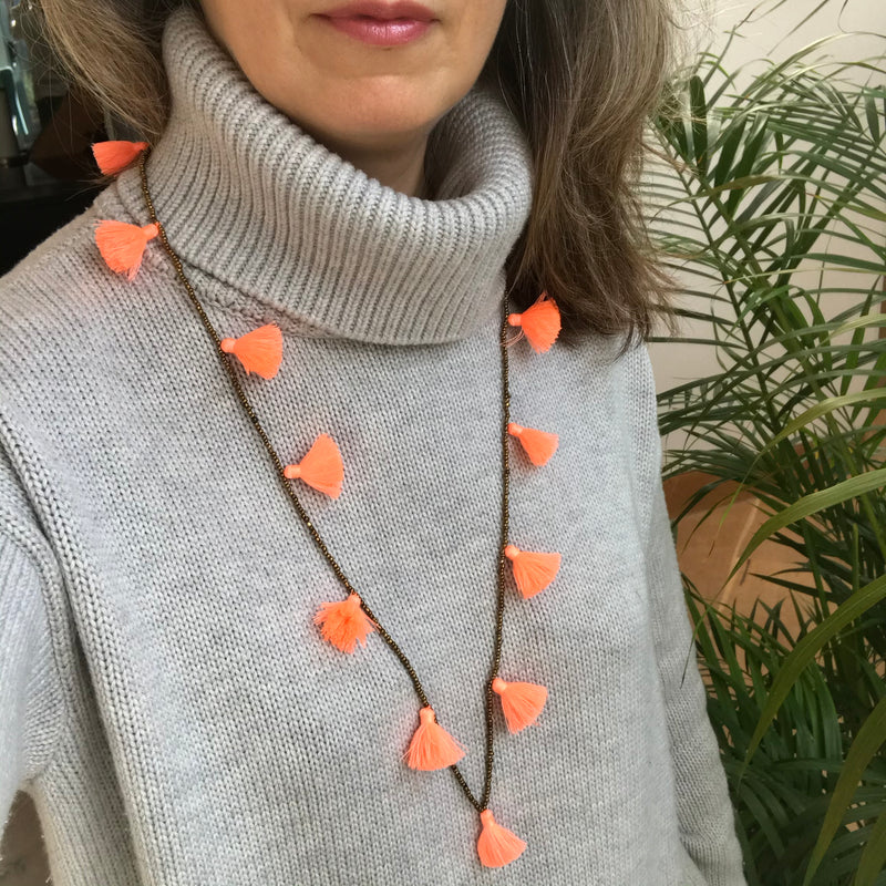 Light Orange Tassel Necklace