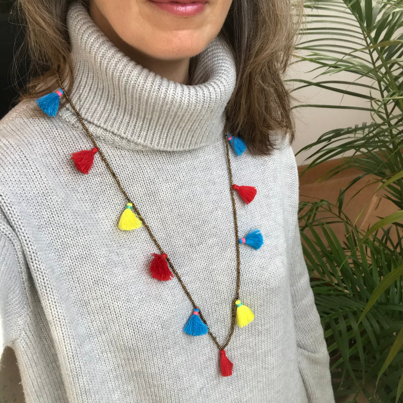 Multi-Color Tassel Necklace