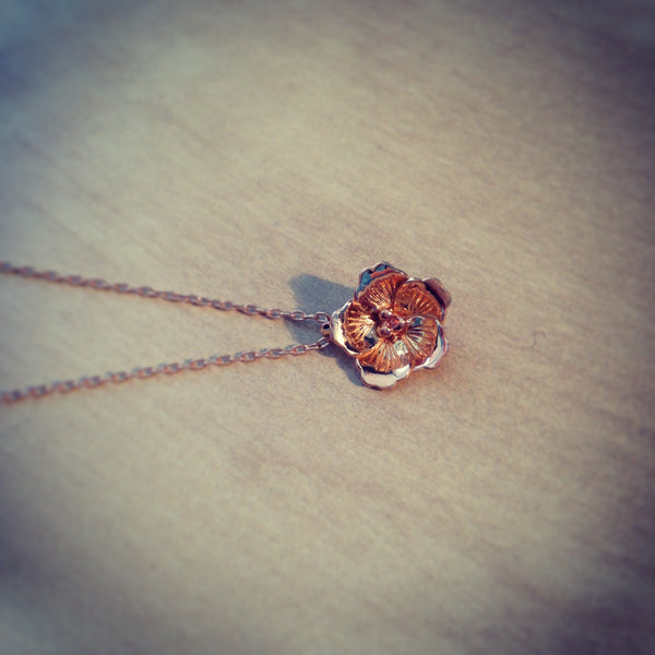 Rose Gold Cherry Blossom Pendant