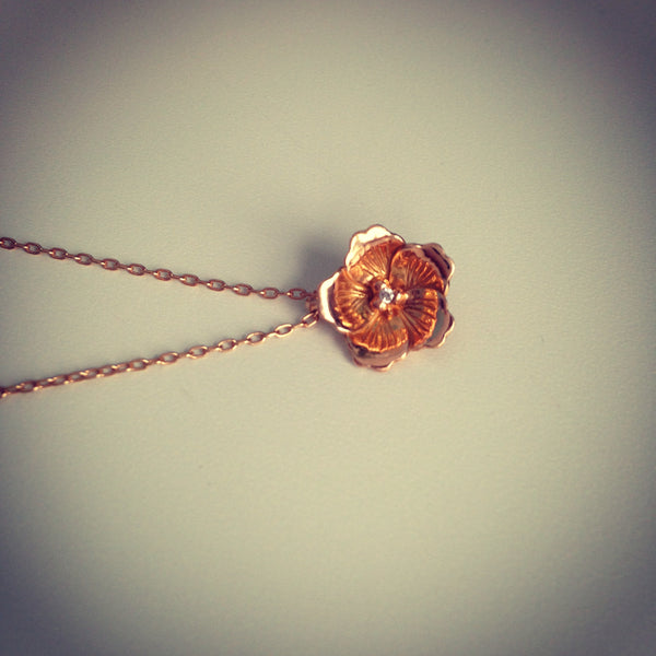 Gold and Diamond Cherry Blossom Pendant