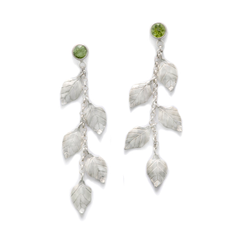 Peridot Summer Leaves Dangling Earrings