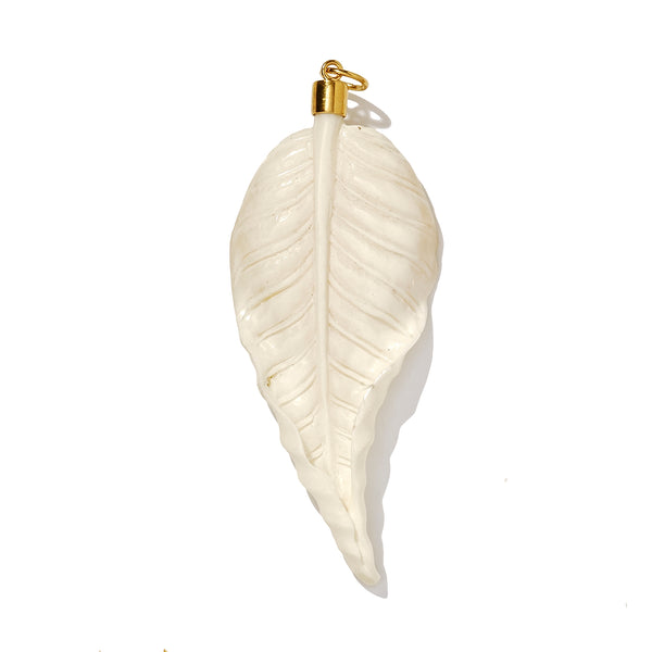 Large Carved Autumn Leaf in Gold Vermeil