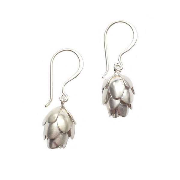 Silver Hemlock Pine Cone Earrings