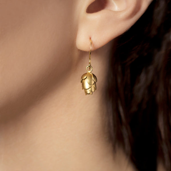 Gold Hemlock Pine Cone Earrings