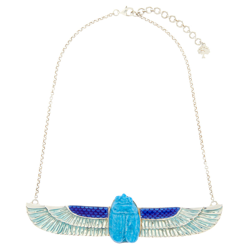 Turquoise Flying Scarab Necklace