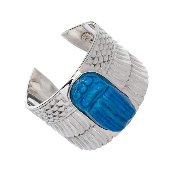 Turquoise Scarab Faience Cuff