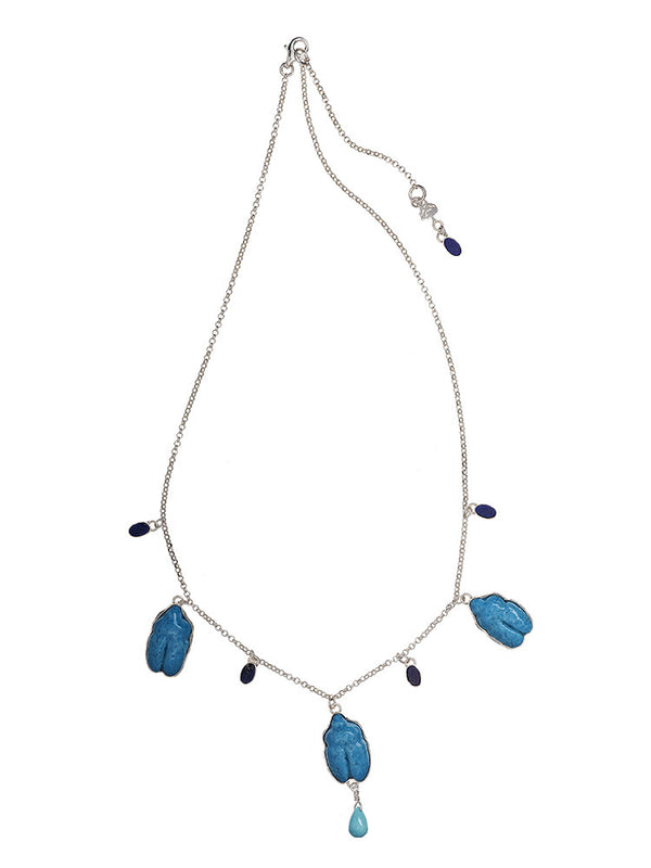 Lazuli and Turquoise Scarab Necklace