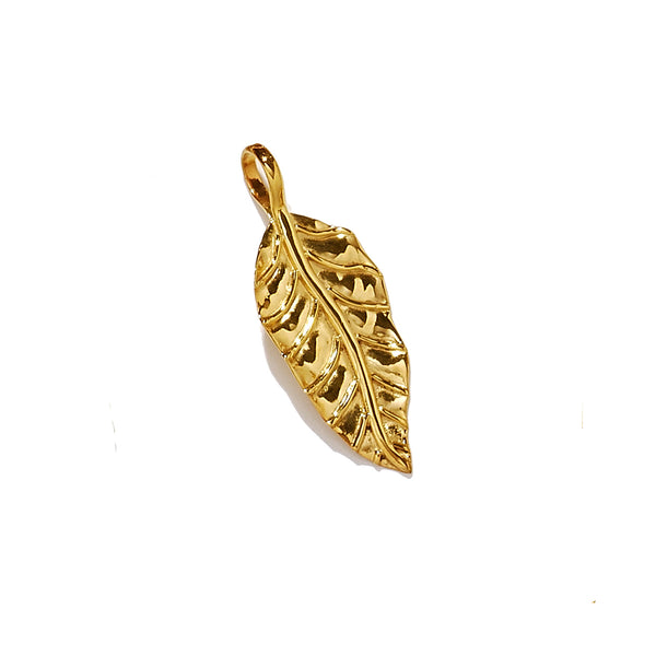 Curled Autumn Leaf Charm Small Gold Vermeil